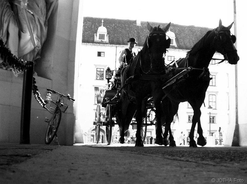 Tordurchfahrt mit Pferden